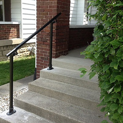 Black pipe stair railing