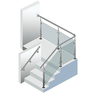 glass stainless handrail